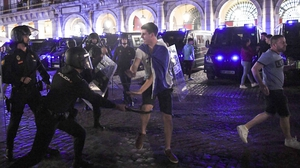 Leicester City fans clashed with police in Madrid