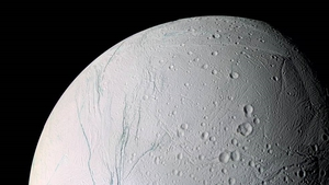 Enceladus is believed to be surrounded by a global watery ocean covered by thick ice (Pic: NASA)
