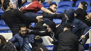 Fans clash at Parc Olympique Lyonnais