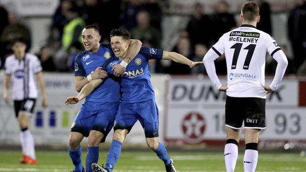 Keith Buckley and Aaron Greene celebrate Bray's third goal against Dundalk