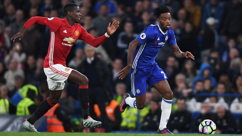 Paul Pogba tracks Nathaniel Chalobah during the Stamford Bridge clash in October