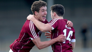 Galway's Michael Daly and Eoin Finnerty celebrate the victory over Kerry