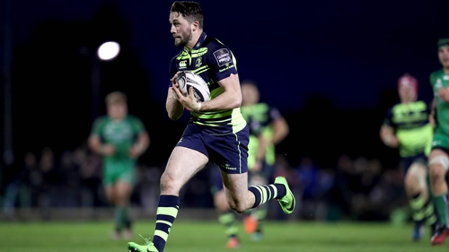 Barry Daly scores Leinster's fifth and final try against Connacht