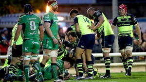 Leinster players congratulate Rhys Ruddock after his try against Connacht