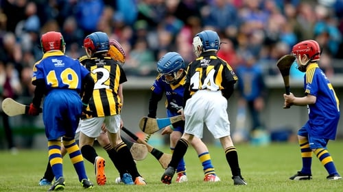 Children hurl at half-time in the 2014 Allianz Hurling League Division 1 final between Kilkenny and Tipperary