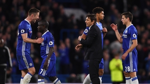 Antonio Conte and Chelsea still lead the Premier League with six games to play