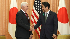 US Vice President Mike Pence with Japan's Shinzo Abe