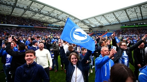 Brighton fans celebrate sealing promotion
