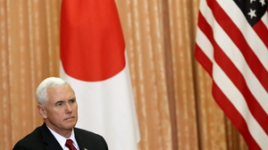US Vice President Mike Pence addressing the media in Tokyo