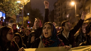 People protest in Istanbul following the referendum result