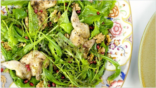 Grilled Lightly Spiced Quail with Pomegranate and Walnut Salad.