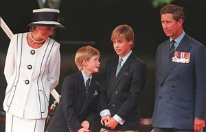Diana and Charles watch the parade as part of the commemorations of VJ Day with their children in 1995. Diana looked elegant at every royal occasion.