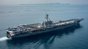 Handout provided by the US Navy shows the USS Carl Vinson in Sunda Strait on 14 April