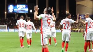 Radamel Falcao celebrates his goal at at Stade Louis II