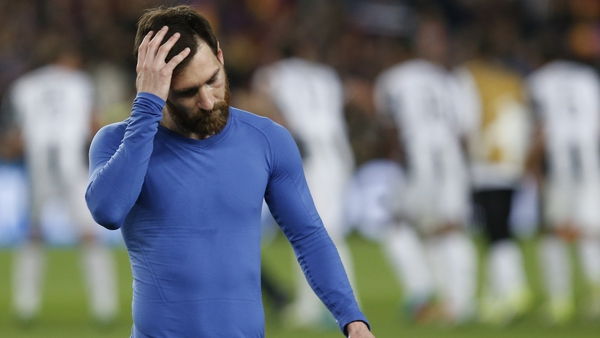 A dejected Messi following Barcelona's Champions League exit at the hands of Juventus