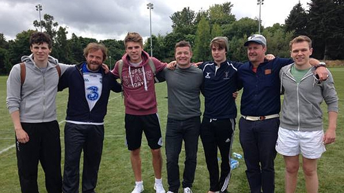 Brian O'Driscoll with some of the cast of Handsome Devil and director John Butler (second right)