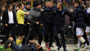 Tempers flare on the sideline between Celta Vigo and Genk in Belgium