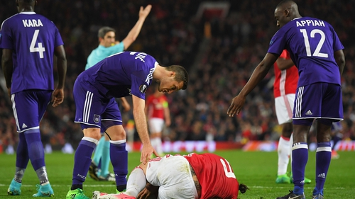 Ibrahimovic was injured in the final minute of normal time against Anderlecht
