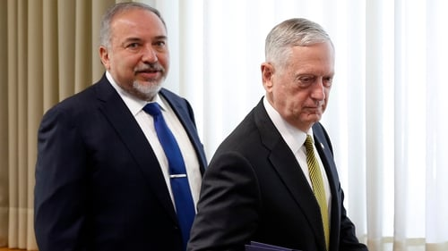 Avigdor Lieberman and Jim Mattis ahead of a press conference this morning