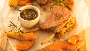 Catherine Fulvio's Rack of Lamb with Mint Shallot and Red Wine Vinegar Dressing served with Roasted Butternut Squash Cumin Wedges