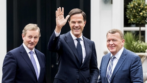 Enda Kenny with Dutch Prime Minister Mark Rutte and Danish Prime Minister Lars Lokke Rasmussen in The Hague