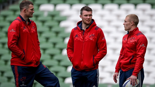 Donnacha Ryan, Peter O'Mahony and Keith Earls during Munster's captain's run on Friday