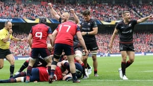 Saracens players celebrate Mako Vunipola's try