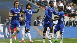 Willian celebrates scoring the opening goal at Wembley