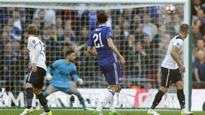 Nemanja Matic watches on as his shot hits the corner of the net