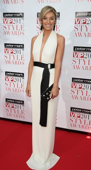 VIP's Look of the Year Winner Pippa O'Connor looked elegant in a Solace London dress with Jimmy Choo clutch.