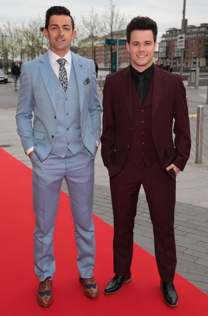 Aidan O'Mahony wore a blue suit from Suit Select while VIP's Most Stylish Man Dayl Cronin wore a Dorian Black suit.