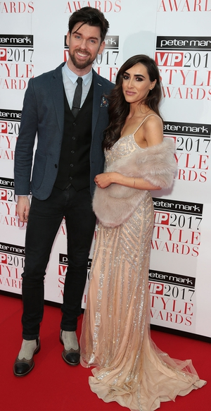 RTÉ 2fm's Eoghan McDermott looked very dapper while walking the red carpet with partner Aoife Melia.