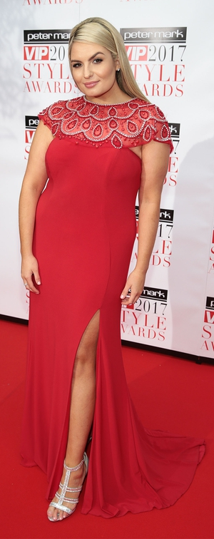 Model Louise O'Reilly wore a red number from Frock n Fabulous.