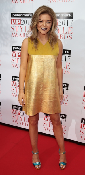 Most Stylish Online Influencer Doireann Garrihy wore a gold dress by Dublin designer Emma Manley.