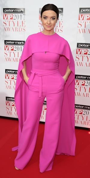 RTÉ 2fm's Jennifer Zampareilli wore a bright pink jumpsuit from Umit Kutluk.