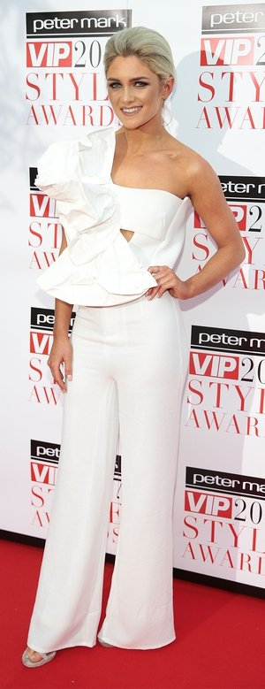 Blogger Niamh Cullen wore a white jumpsuit from Toni Maticevski.