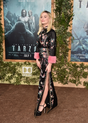 Asian vibes in Gucci and Jimmy Choo heels for the premiere of 'The Legend of Tarzan' in 2016. That girl can wear any style!