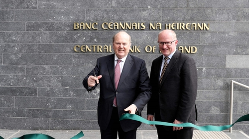 Finance Minister Michael Noonana and Central Bank Governor Philip Lane at the official opening of the new Central Bank