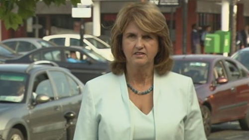 Joan Burton said the protesters used extreme language which was 'full of venom and hatred'