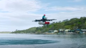 A screenshot from the 'flying car' video