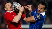 Munster's Andrew Conway and Isa Nacewa of Leinster battle for possesion in the sides' December meeting