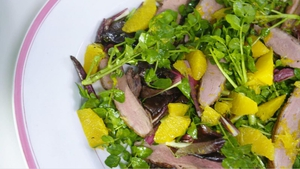Grilled Duck Breast with a Salad of Oranges, Watercress and Radicchio