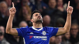 Diego Costa celebrates his first goal at Stamford Bridge