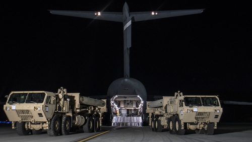 Handout photo provided by US Forces Korea shows trucks carrying elements of the THAAD that arrived at the Osan Air Base on 6 March