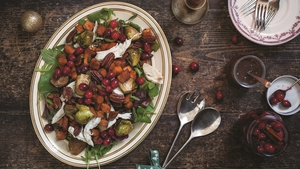 Use up any left-over turkey by tossing together this Warm Turkey Salad with Pickled Cranberries.