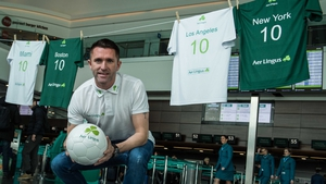 Robbie Keane was at Dublin Airport today to launch Aer Lingus' big North American sale yesterday