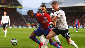 Mousa Dembele and Ben Davies put pressure on Crystal Palace's Wilfried Zaha