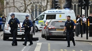 The man was detained with several knives in Whitehall, London yesterday