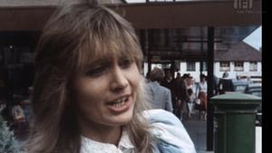 A young(er) Miriam O'Callaghan talks milk at Dublin's Stillorgan Shopping Centre in the eighties