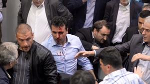 Live television footage showed Social Democratic leader Zoran Zaev with blood trickling from one side of his forehead